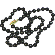 14K Yellow Gold Clasp Hallmarked Hand Knotted  Black Jade Necklace