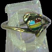 Native American Indian Zuni Crafted Intarsia Gemstone Inlay Heart Petite Ring