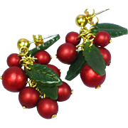 Holly Berries Cluster Dangle Pierced Earrings for Christmas / Holiday