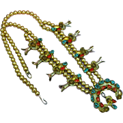 Native American Indian Delicate Sterling Silver & Gold Filled Squash Blossom with Roses ...