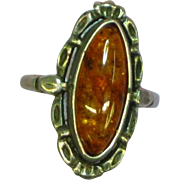 Amber Genuine Natural Vintage Sterling Silver Ring From Poland