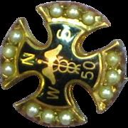 SALE 10K Gold  Seed Pearl Enamel Nurse Doctor Fraternity Pin