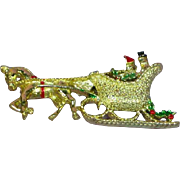 Christmas Gerry's Signed Horse Drawn Sleigh Pin Brooch