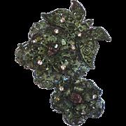 Amazing Purple Pink Rhinestones Japanned Articulated Flower Pin Brooch