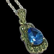 SALE Gemstones Vintage Sterling Silver Topaz and Marcasite Pendant Charm Necklace