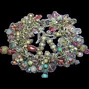 Swarovski Crystal Murano Venetian Glass Cha Cha Dangle Sterling Silver Charm Bracelet & Pierce