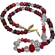 "Faceted Pink German Crystal Red Ruby Purple Faceted Rondell  22"" Necklace"