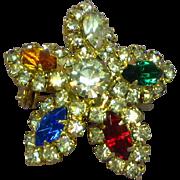 Dazzling Multi Colored Star or Snowflake Colorful Rhinestone Pin Brooch