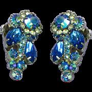 Juliana D&E Book Piece Dark Blue and A/B Rhinestone Clip Earrings