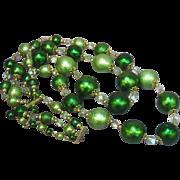Japan Marked Beads Scrumptious!! Light and Dark Green Lightweight Beads Necklace
