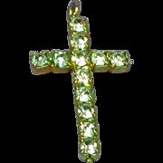 Rhinestone Clear in Gold Plate Cross Charm Pendant