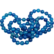 Magnificent Blue Translucent Agate Hand Knotted Bead Necklace