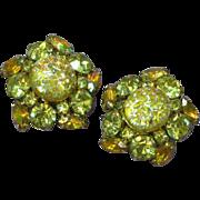 Juliana D&E Lemon Yellow Rhinestones Art Glass Large Clip Earrings