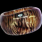 Genuine DuPont Lucite Transparent Tiger Striped and Glitter Bangle Bracelet