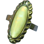 Native American Indian Signed  Mother of Pearl MOP Sterling Silver Ring