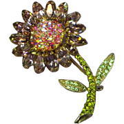 Weiss Signed Fabulous Rhinestone Flower Vintage Pin Brooch