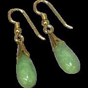 14K Gold Filled Jade Drop Pierced Earrings