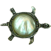 Sterling Silver Mother of Pearl Marcasite 'Tiny Treasure' Turtle Figural Pin Brooch