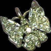 14K White Gold Pave Diamonds Beautiful Butterfly Necklace Slide Pendant