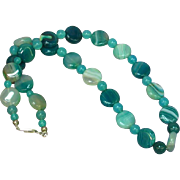 Vintage Teal Blue/Green Agate & Chalcedony Bead Necklace
