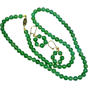 Jade Celadon Jadeite Bead Spectacular Necklace & Earrings Set Demi Parure