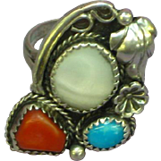 Native American Indian Sterling Silver,Turquoise Coral MOP Traditional Ring