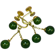Art Deco Imperial Green Jadeite Jade Gold Filled Drop Dangle Screwback Earrings