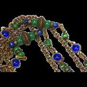 SALE Exotic Edwardian Czech Brass Gablonz Glass Long Necklace