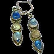 Genuine Gemstones Luminous Blue Labradorite Rose Quartz Dangle Sterling Silver Pierced Earring