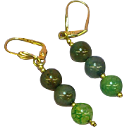 Gemstones Dragon's Vein Green Agate Bead Pierced Earrings