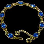 Gold Filled 1/20 12K Fine Mid Century Link Blue Sapphire Tennis Bracelet