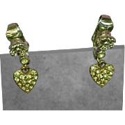 Sarah Coventry Hearts Dangle Clip Style Earrings