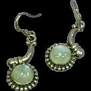 Gemstones Labradorite Luminous Blue Sterling Silver Dangle Pierced Earrings