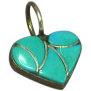 Native American Indian Inlay Turquoise Mother of Pearl Reversible Heart Necklace Pendant
