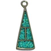 Native American Sterling Silver Turquoise Inlay Necklace Pendant