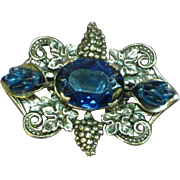 Rhinestones Blue Poured Glass Leaves Silver Grape Layered Pin Brooch