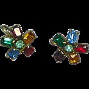 """Rhinestones Beautiful Vintage Multi Color  """"Sparklers"""" Screwback Earrings"""