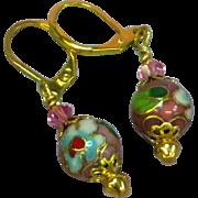 Chinese Cloisonne Enamel Flower Drop Dangle Pierced Earrings
