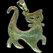 Vintage 1950's Sterling Silver Modernistic Cat Charm Pendant