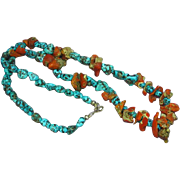 Native American Indian Natural Raw Red Coral Chunks & Bisbee Turquoise Beads Sterling Silver .