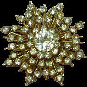 Austria Marked Rhinestones Snowflake Pin Brooch