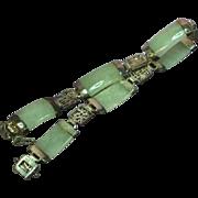 Chinese Vintage Sterling Silver Genuine Mutton Fat Jade Link Bracelet
