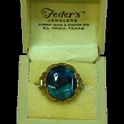 Original Box Retro Era Mens Handsome Blue Chrysocola 10K Yellow Gold  Ring