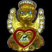 Moose Lodge Fraternal Organization Rhinestone Enamel Angel Pin Brooch