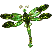 Juliana Gorgeous Green Rhinestones Dragonfly Pin Brooch