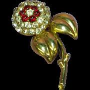 Castlecliff Signed 1940's Heavy Art Deco Rhinestone Gripoix Glass Brooch Pin