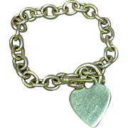 Solid Sterling Chain Toggle Heart Charm Bracelet