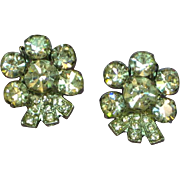 Weiss Signed Vintage Clear Rhinestone Clip Earrings