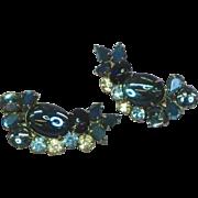 SALE Vintage Juliana Delizza & Elster Blue Rhinestones Jelly Belly Art Glass Clip Earrings