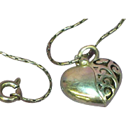 Sterling Silver Filigree Fancy Opening Heart Charm Pendant Necklace